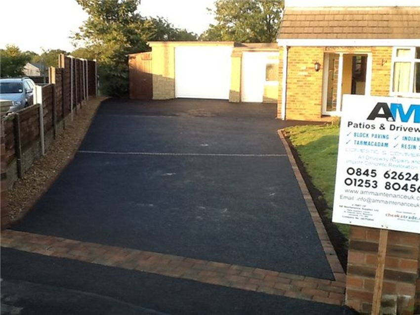 recent project for tarmac driveways in Normoss - image shows our tarmac work with a block paved front